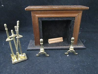 Chadwick Miller Doll House Miniature Fire Place Set w/ Logs Andirons & Tools