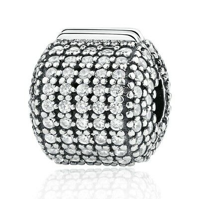 European 925 Sterling Silver Plated Clip Charm Pave Barrel Clear CZ fit Bracelet