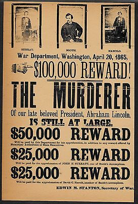 John Wilkes Booth Wanted Poster Reprint On Original Period 1860s Paper *A001