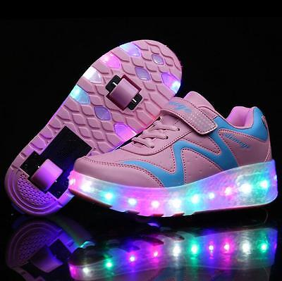 2017 Fashion LED Light Roller Skate Shoes For Children Kids Sneakers With Wheels