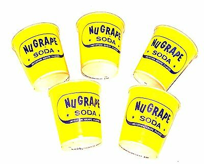 5 Nu Grape Sample Soda Pop Wax Mini Paper Cups Flat Top Cone Can Coke Beer MkOfr