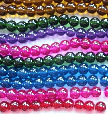 ROUND BEADS - QUALITY  GLASS  - BY THE STRAND - 8 mm - #R8