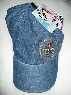 NEW WITH TAGS Powder Puff Girls Blue Denim Hat With Dual Embroidery