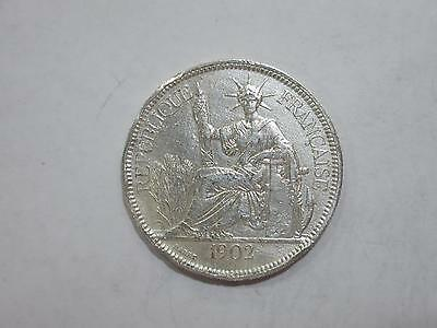 French Indo Chine China 1902 1 Piastre Vietnam Silver Coin Old Collection Lot