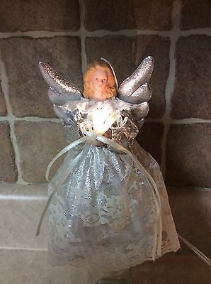 """Vintage Angel Tree topper, Ornament Silver W/ White Lace 7.5"""" Plugs In Lights"""
