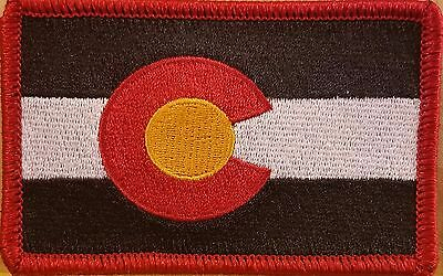 COLORADO Flag Patch W/ VELCRO® Brand Fastener Morale Emblem RED Border
