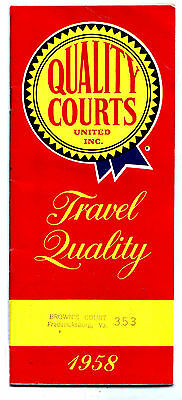 1958 Quality Courts Inn Hotel Motel Room Directory Guide Book Map Holiday MkOfr