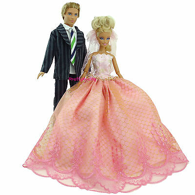 Handmade Suit Outfit Wedding Dress Party Clothes For Barbie Ken Doll Xmas Toy
