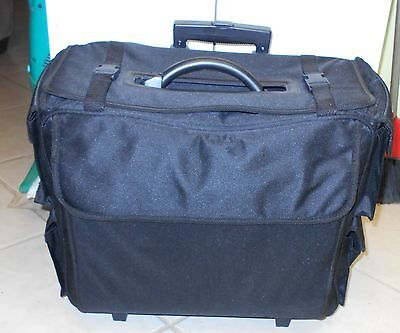 Large Rolling Craft/Hobby Travel Storage Tote Caddy Case w/Telescoping Handle