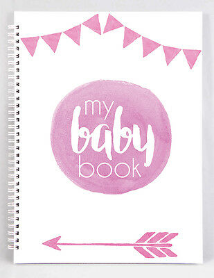 Baby Record Book - Girl - Pink Watercolour - Basic