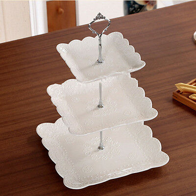 Practical Silver 3 Tier Cake Cupcake Plate Stand Handle Hardware Fitting Holder