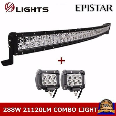 50INCH 288W Curved LED Combo Work Light Bar Offroad Jeep SUV With 2pcs 18W Spot