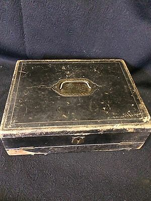 vintage / antique leather bound wooden writing box, a bit shabby chic