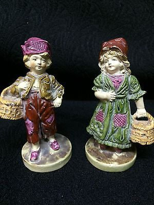 Antique staffordshire figures two figures of boy & girl