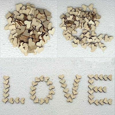 100Pcs Wooden Love Hearts Shapes Embellishments Small Hanging Heart Plain Craft