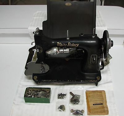 Vintage White Rotary Sewing Machine - WORKS
