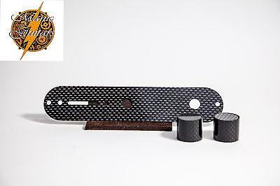 Carbon Fibre Telecaster Control Plate with knobs