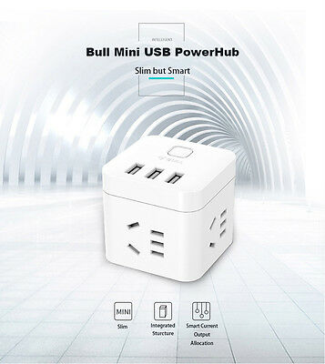 Smart MINI USB Power Hub Cube Power Board  3 Outlets and 3 USB Ports  Charger