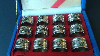 United States Marine Corp Silver Plated Napkin Rings Set of 12
