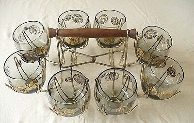 8 Vintage Roly Poly Smoky Glasses in Brass Wire Caddy Gold Coin Federal Glass