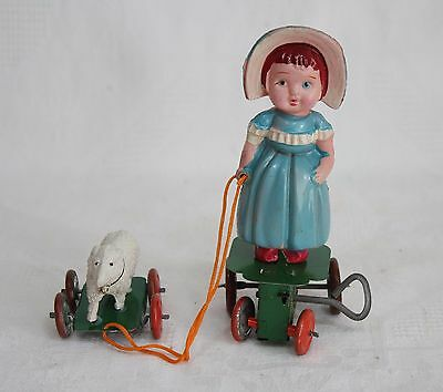 Vintage Kuramochi 1930s Boxed Mary and her Little Lamb Celluloid/Tin Wind up Toy