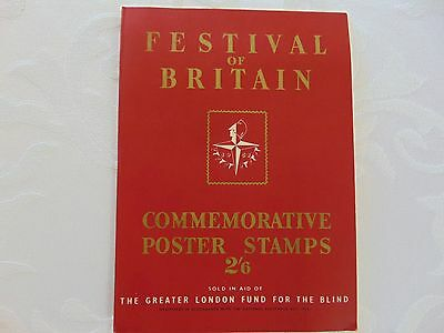 Vintage 1951 FESTIVAL OF BRITAIN Commemorative Poster Stamps and Booklet