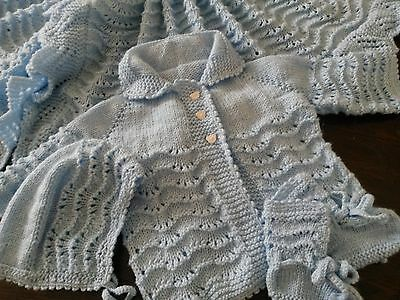 Hand Knitted Christening,heirloom Baby Blanket/shawl Matinee Jacket Booties Hat