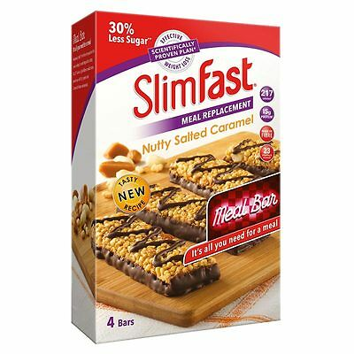 Slimfast Nutty Salted Caramel Bars Meal Replacement Diet Weight Loss 16 x 56g