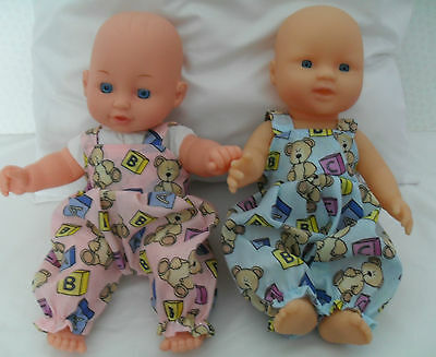 """12"""" Dungarees Boy Or Girl Dolls Clothes Handmade Fit 30Cm Doll"""