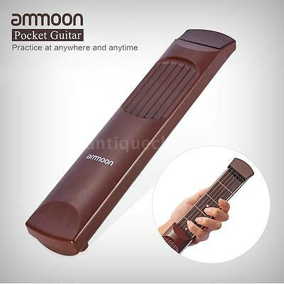 ammoon Portable Pocket Acoustic Guitar Practice Tool 6 String 6 Fret E2D0