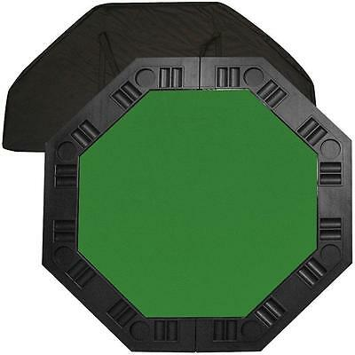 8 Player Portable Poker Octagonal 48 in. Green Felt Molded Chip Trays Table Top