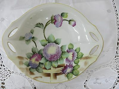 Noritake hand painted bowl,- purple flowrs and green leaves