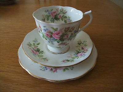 Royal Albert Moss Rose - pink roses - trio - cup, saucer and plate