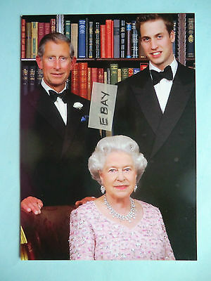 Original Buckingham Palace Postcard The Queen, Prince William & Prince Charles