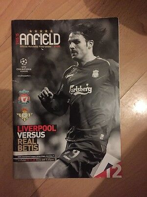 Liverpool V Real Betis Champions League Programme 2005.