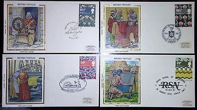 1982 British Textiles set of 4 First day covers, all with different special h/s.