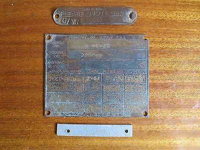 WW2 British army Austin Utility Tilly chassis, Ministry of Supply rebuild plates