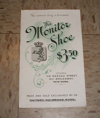 Antique The Monitor Shoe Sales Advertisment from Early 1900s Holbrook Mass MA