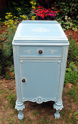 Antique End Table - French Blue and White