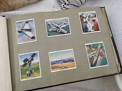 Collection Vintage Cigarette Cards Album Trains Planes Submarines Churchmans