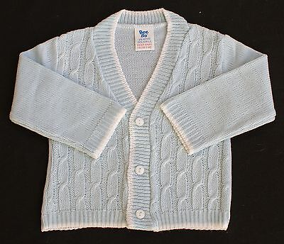 Baby cardigan cable knit blue boy Bee Bo