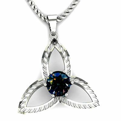 1.57Ct Natural black Diamond And Real  Brown Moissanite Pendant (See Video) 925