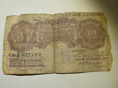 Ten Shilling  Note   (  War Issue  Very Bad  Condtion  )