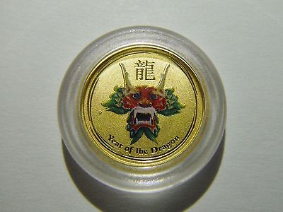 2012 AUSTRALIA GOLD 1/20 oz. $5 LUNAR YEAR OF THE DRAGON COLORIZED