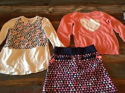 Gymboree Girls Size 6 Skirt, Long Sleeve Top, Sweater Coral Navy Peach Pattern