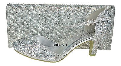New Silver Glitter Womens Party Diamante Evening Wedding Bridal & Matching Bag