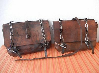 2 Swiss Saddle Bag SWISS Army Rustic VINTAGE 1939 WWII Leather Motorcycle FINE