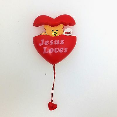Vintage Red Valentine Heart Pull String Pop Up Bear Jesus Love Me Brooch Pin