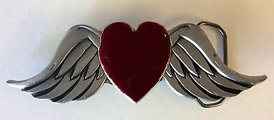 Great American Pure Pewter Red Heart Belt Buckle with Angel Wings Made in Mexico