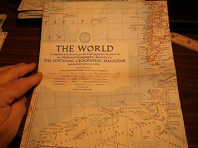 Vintage Large The World Map National Geographic March 1957